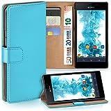 OneFlow Tasche für Sony Xperia M2 / M2 Aqua Hülle Cover mit Kartenfächern   Flip Case Etui Handyhülle zum Aufklappen   Handytasche Schutzhülle Zubehör Handy Schutz Bumper in Türkis