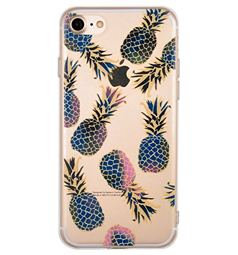 Coque iPhone 7, Coque iPhone 8, OFFLY Transparente Souple Silicone TPU étui d' Protection, Cute et Motif Fantaisie pour Apple iPhone 7 / iPhone 8 - Ananas
