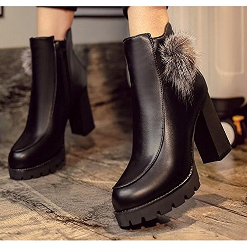 HSXZ Chaussures pour femmes PU Printemps Automne Bottes confort pour l'Extérieur brun noir,Brun,US8 / EU39 / UK6 / CN39