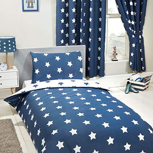 Pricerighthome Marine-Blau und Weiß-Stern Einzelbettbezug und Kissenbezug-Set
