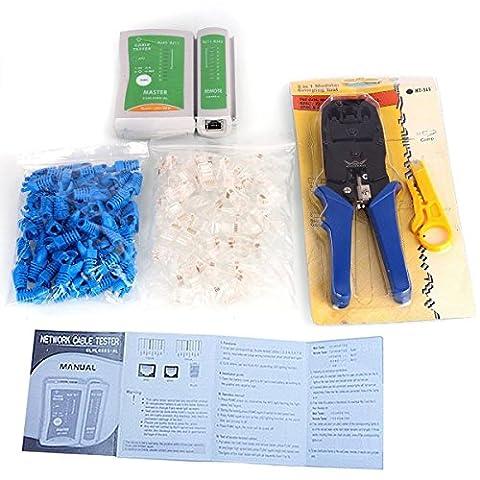 Aimtech® Testeur de Câble +3 In 1 Sertisseur +100 RJ45 RJ11 CAT5 CAT5e Connecteur Wire - Teaseuse Ensembles