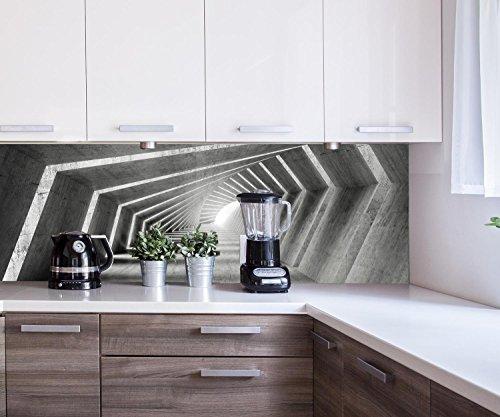 wandmotiv24 Küchenrückwand beleuchteter Beton-Korridor 180 x 60cm (B x H) - Hartschaum 3mm Nischenrückwand Spritzschutz Fliesenspiegel-Ersatz M0794