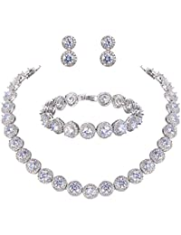 TENYE Cubic Zirconia Romantic Bridal Heart Shaped Tennis Bracelet Silver-Tone qK7k4