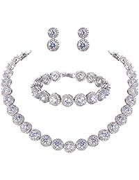 TENYE Cubic Zirconia Romantic Bridal Heart Shaped Tennis Bracelet Silver-Tone
