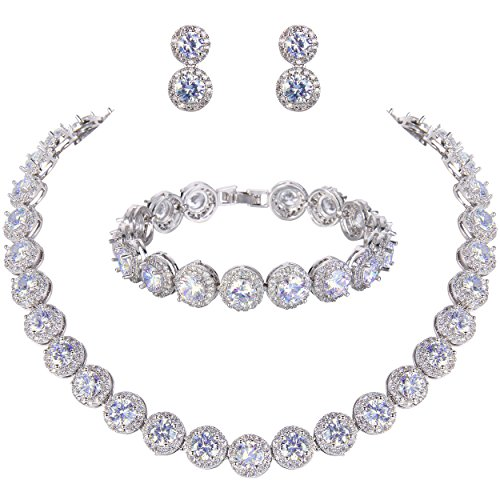 Ever Faith Damen rund Cut Cubic Zirconia Tennis Halskette Armband Ohrringe Set Klar Silber-Ton