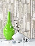 NEWROOM Holztapete Beige,Creme,Grau tapete Beige,Creme,Grau Landhaus,Vintage Alte Bretter,Holz schöne moderne und edle Design 3D Optik, inklusive Tapezier Ratgeber