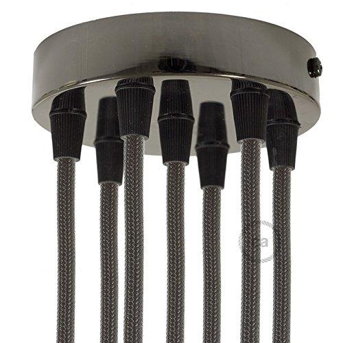 Creative-Cables krm576fbr Kit rosace 7 trous cylindre 120 mm, fixation, vis et 7 serre-câble, noir perle