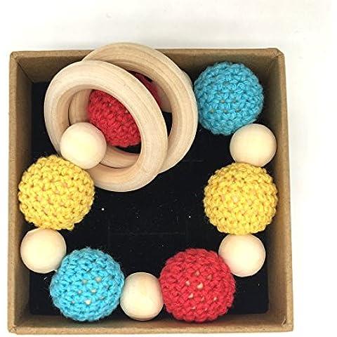 Coskiss Enfermería hecha a mano de los granos de madera del grano de ganchillo dentición de punto con cuentas de madera (Color 5)