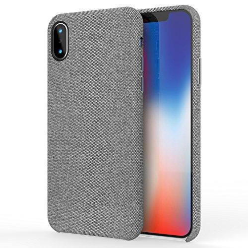 iPhone X Hülle, iPhone 10 Hülle-Gewebe-rückseitige Abdeckungs-schützendes Telefon-Fall unterstützt drahtlosen Aufladen für Apple iPhone X / iPhone 10 5.8 Zoll (2017) - Grau