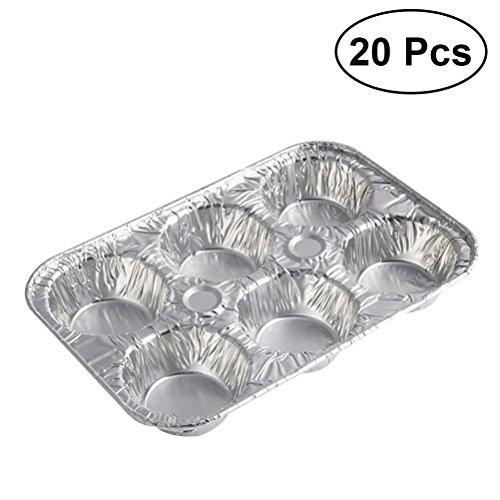 bestonzon 20Ei Tart Aluminium Pfanne Cupcake Muffin Backförmchen Tablett gefüttert Form Dose (Muffin-pfanne Aluminium)