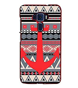 Fiobs Designer Back Case Cover for Asus Zenfone 3 ZE552KL (5 Inches) (Triangles Pyramid Colorful Patterns Anchor Boat)