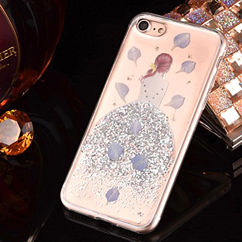 GHC Cases & Covers, Für iPhone 6 & 6s Epoxy Dripping gepresste echte getrocknete fallende Blumen Glitter Powder Girl weichen TPU Schutzhülle Back Cover ( Color : Blue ) Silver