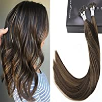 LaaVoo 22 Inches Brazilian Real Human Hair Extensions Pre Bonded Stick Tip Straight Hair #2P8 Darkest Brown Mixed Light Brown 50g
