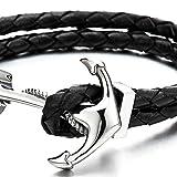Edelstahl Anker Armband Herren Damen Armband Schwarz Geflochtene Lederarmband Leder Armreif - 2