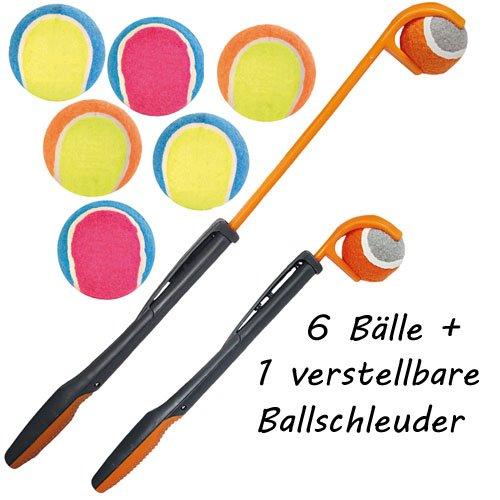 Tennisball Werfer mit 6 Tennisbälle für den Hund Der verlängerte Wurfarm Mit diesem Gerät werfen sie einen Tennisball ganz ohne Kraftanstrengung viel viel weiter als sie es nur mit dem Arm könnten