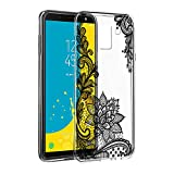 Eouine Coque SamsungGalaxyJ62018, Etui en Silicone 3D Transparente avec Motif Fun Fantaisie Peinture Design [Antichoc] Housse de Protection Coque pour Téléphone SamsungJ62018 (Fleur Noir)