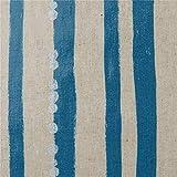 Naturfarbenes Wachstuch mit Blauen Streifen von echino