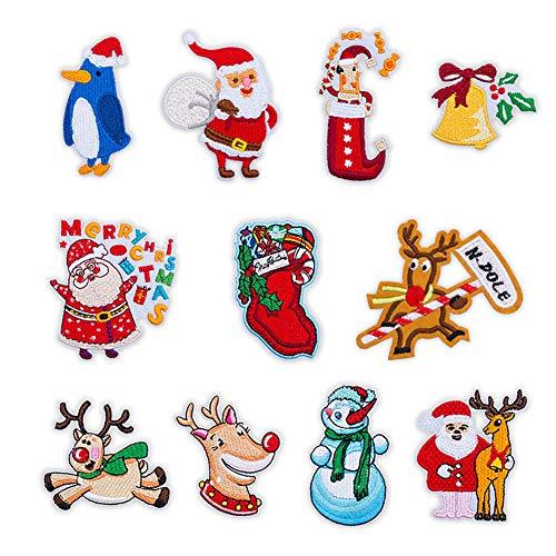 Sar546fgRob Weihnachten Nähen Applique, Kleidung Patches Aufkleber, 11pcs Weihnachten Santa Schneemann Elch Kleidung Eisen Patches Aufkleber 11 Stück -
