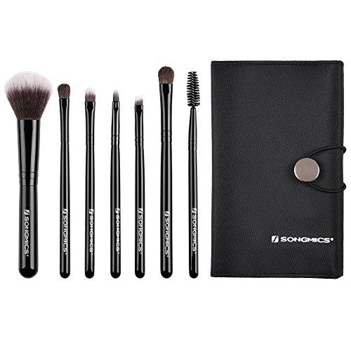 SONGMICS Set de 7 brochas de maquillaje Uso de viaje Herramienta de belleza y maquillaje Cerdas naturales Fibra sintética Bolsa de almacenaje Negro JMB07BK