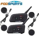 Fodsports BT Bluetooth Motorradhelm Intercom Sturzhelm Motorrad Wechselsprechanlage Lautsprecher Motorrad Kopfhörer Kommunikations Kopfhörer 1200M Ski FM Radio multi Interphone groß für KARTING und Reiten (2 Einheiten mit weichem Kopfhörer)