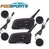 Fodsports BT Bluetooth Casco Motocicleta Intercom Altavoces Motocicleta Auriculares Comunicaci¨®n Auriculares 1200M Ski FM Radio Multi Interphone Ideal para KARTING y Riding (2 unidades con Soft Headphone)