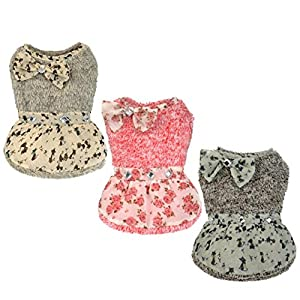 Angelof Vêtements de chien Pet dot bowknot robe charme princesse zircon jupe vêtements
