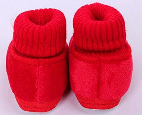 Happy Cherry – Chaussures de neige/ Chaussures souple antidérapantes chaude en hiver Chaussons velours corail avec hochet 3D mixte enfant bébé 9-12 mois – Rouge Rouge