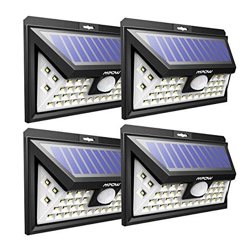 Mpow 40LED Luz Solar de Pared,3 Modos de Iluminación Opcionales, Ángulo de Detección de 120°, Resistente a la Intemperie,Gran Luz al Aire Libre para Jardín, Calzada, Cercado, Garaje, Camino4 Paquetes