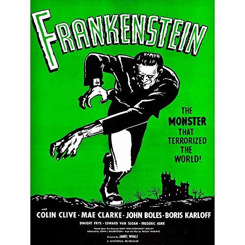 Wee Blue Coo LTD Movie Film Frankenstein Monster Karloff Horror Shelley Gothic Whale Art Print Poster Wall Decor Kunstdruck Poster Wand-Dekor-12X16 Zoll