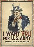 "World of Art Kunstdruck/Poster, Vintage-Stil, US-Propagandaposter zum 1.Weltkrieg 1914–18, englischsprachige Aufschrift ""I want you for U.S. Army"", 250g/m², glänzend, A3, Reproduktion"