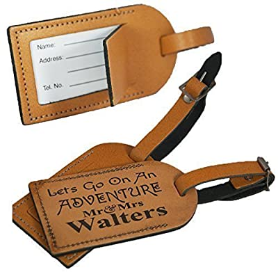 Personalised Leather Luggage Tag for suitcases - Made in the UK from 100% Leather - Honeymoon Mr&Mrs Adventure - L1011