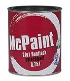 McPaint 2in1 Buntlack Grundierung und Lack in einem für Innen und Außen. PU verstärkt - speziell für Möbel und Kinderspielzeug seidenmatt Farbton: RAL 9005 Tiefschwarz 0,75 Liter - Bastellack- Andere Farben verfügbar