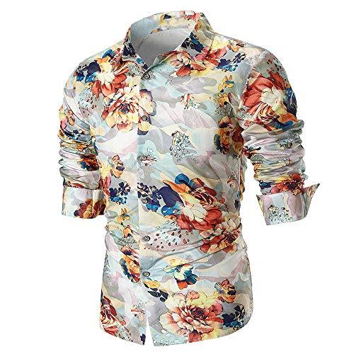 feiXIANG Langarm Hemd Bedruckte beiläufige dünne Freizeitkleidung Große Größe Slim Fit Streetwear M-3XL(Beige,L)