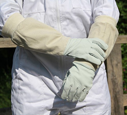 Beekeepers Bee Keeping Gloves - Soft White Goats Leather with Cotton Gauntlets (XL) 1