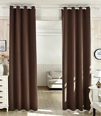WOLTU® #488-2 2 x Gardine Vorhang blickdicht mit Ösen , 2er Set Verdunkelungsvorhang Verdunkelungsgardine , leicht schwere Vorhang Ösenschal , 135x225 cm , Braun