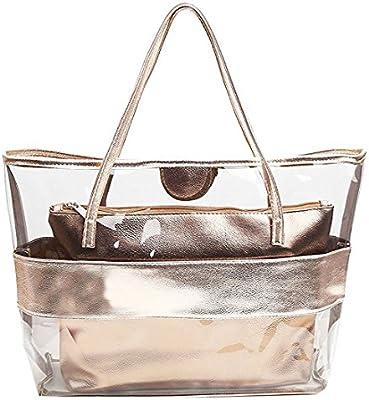 mujer Bolsa de Mano - SODIAL(R) Impermeable Mitad Transparentes Bolsa de Mano, Bolso de Playa del PVC y Poliester con el Bolso Cosmetico Pequeno (color de champan)