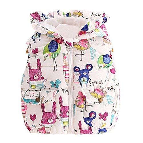 Hunpta Warme Weste Kleidung Tier Graffiti mit Kapuze Kinder-Jacken für Baby Prinzessin Mädchen (80, Multicolor)
