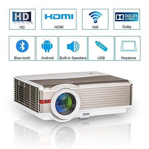 WXGA HD LCD Proyector de video Bluetooth inalámbrico,5000 lúmenes LED Multimedia Proyector de cine en casa con wifi 2 HDMI 2 USB VGA Audio AV 1080P Airplay para iPhone iPad DVD TV PC Portátil XBOX PS4