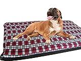 KosiPet® Large Deluxe High Density Foam Mattress Waterproof Dog Bed Beds Red Plaid Fleece