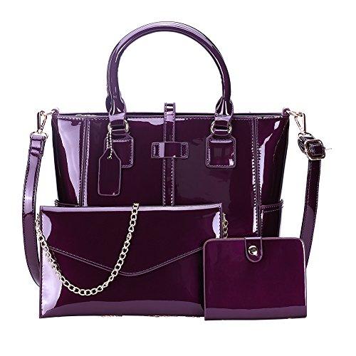 Mefly Nuova Donna Borsetta Tracolla Nero Dark purple