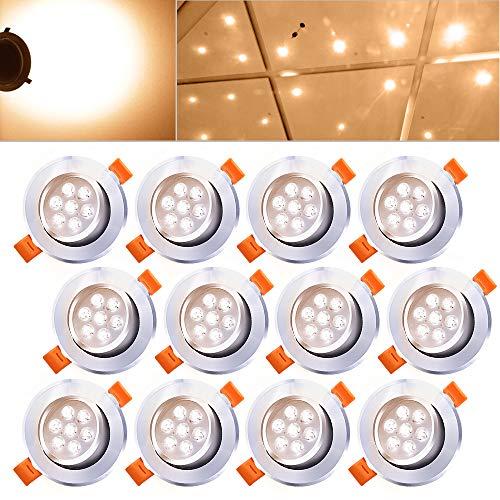 Hengda® 12X 7W LED Einbauleuchte Spotleuchten Dimmbar mit Schwenkbar 30 Grad Design Einbauspot für Flur Wohnzimmer Alu-matt Leuchtmittel Warmweiß IP44