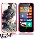 MUZZANO Carcasa Flexible Ultra-Slim Nokia Lumia 635 de Exclusivo Motivo [Gatito Gris] [Rosa] Estilete y PAÑO REGALADOS - La Protección Antigolpes Ultima, Elegante Y Duradera para su Nokia Lumia 635