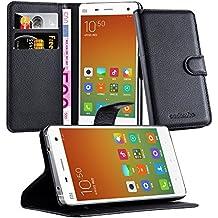 Cadorabo - Funda Xiaomi Mi4 Book Style de Cuero Sintético en Diseño Libro - Etui Case Cover Carcasa Caja Protección (con función de suporte y tarjetero) en NEGRO-FANTASMA