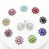 30Pcs 16mm, acrilico colorato e ornamenti strass bottoni con gambo Crystal Button DIY Accessories mix 10colori