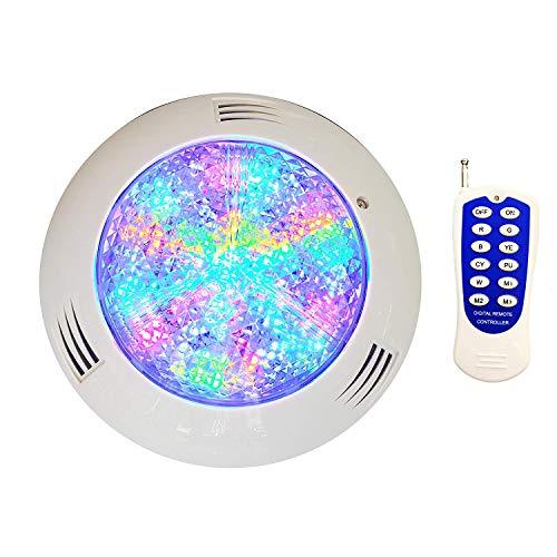 SIMGULAM LED Pool Glühbirne für Inground Pool, 18 Watt, IP68 wasserdicht, farbwechselnd, passend für Pentair und Hayward Pool Leuchten (12V RGB, 5ft), Fernbedienung