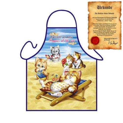 liebes Katzen Motiv: verspielte Kätzchen - Fun - Schürze für Kinder one Size Fb bunt mit GRATIS Geschenk-Urkunde : ) -
