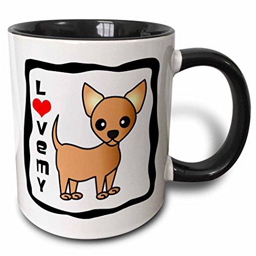 3dRose 12071_4 I Love My Chihuahua Tan - Two Tone Black Mug Becher keramik mehrfarbig