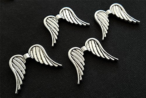 Perlenlädchen 10 Große Engelflügel Metall Flügel 35mm Silber Flügelperlen für z.B. XL Schutzengel