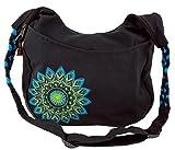 Guru-Shop Ethno Boho Schultertasche, Goa Tasche Mandala - Schwarz/türkis, Herren/Damen, Baumwolle, Size:One Size, 26x33x5 cm, Alternative Umhängetasche, Handtasche aus Stoff