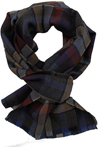 sciarpa-tessuta-karo-alla-moda-blu-di-lana-marrone-stucco-100-merino